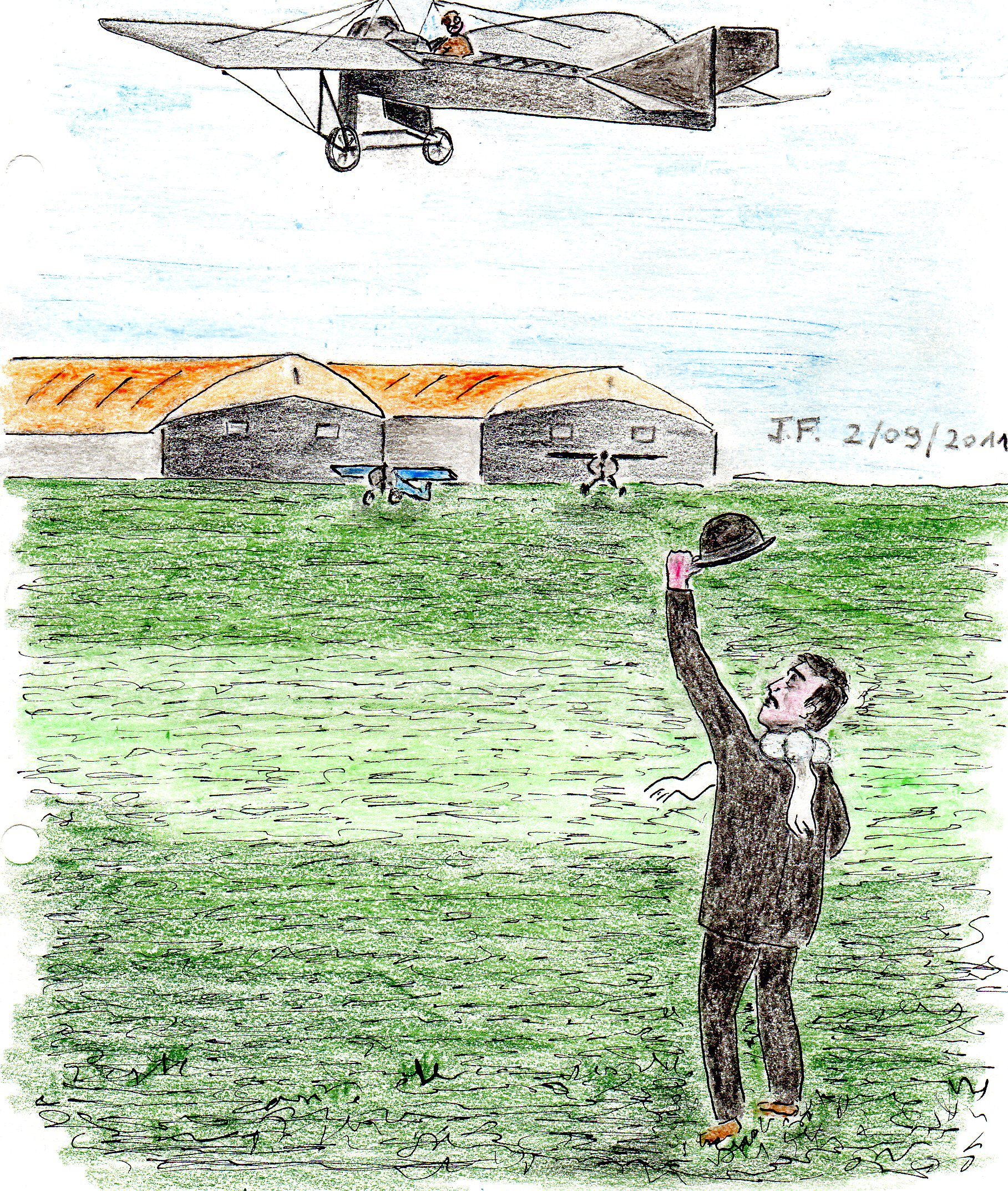 14-Marcel faisant un signe à Agostinelli à bord de son monoplan.jpg