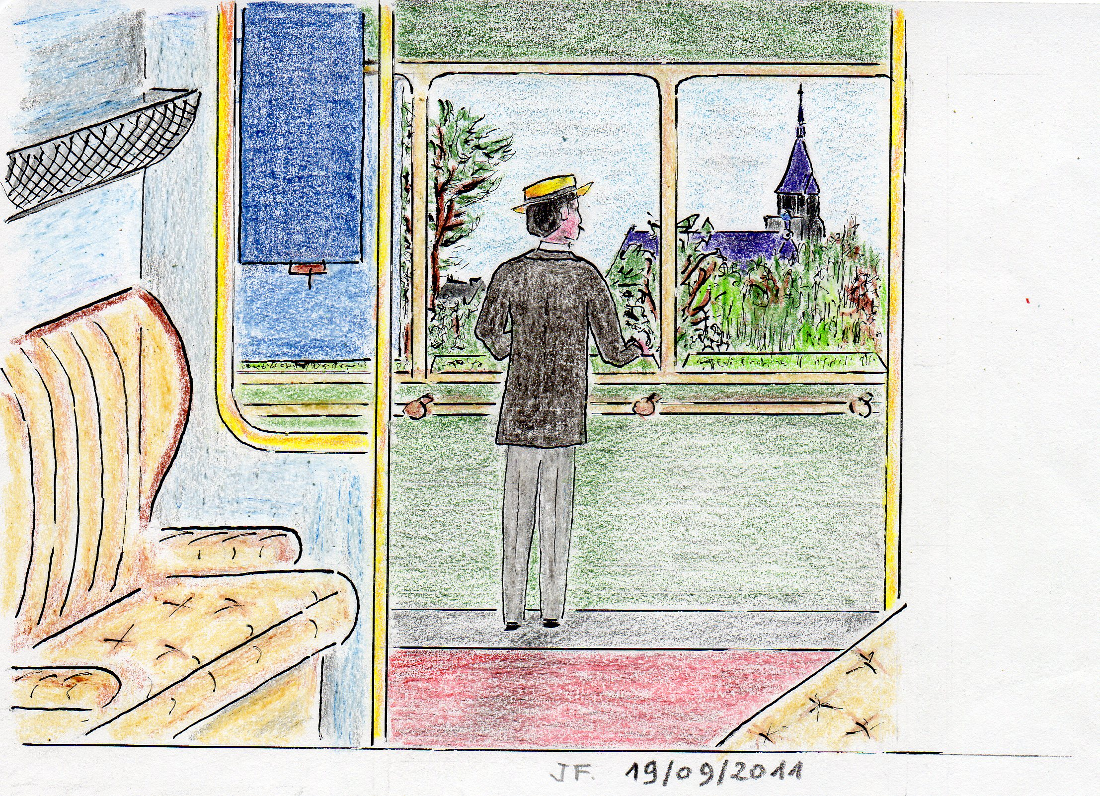 18-Marcel regarde le clocher d'Illiers,du petit train.jpg