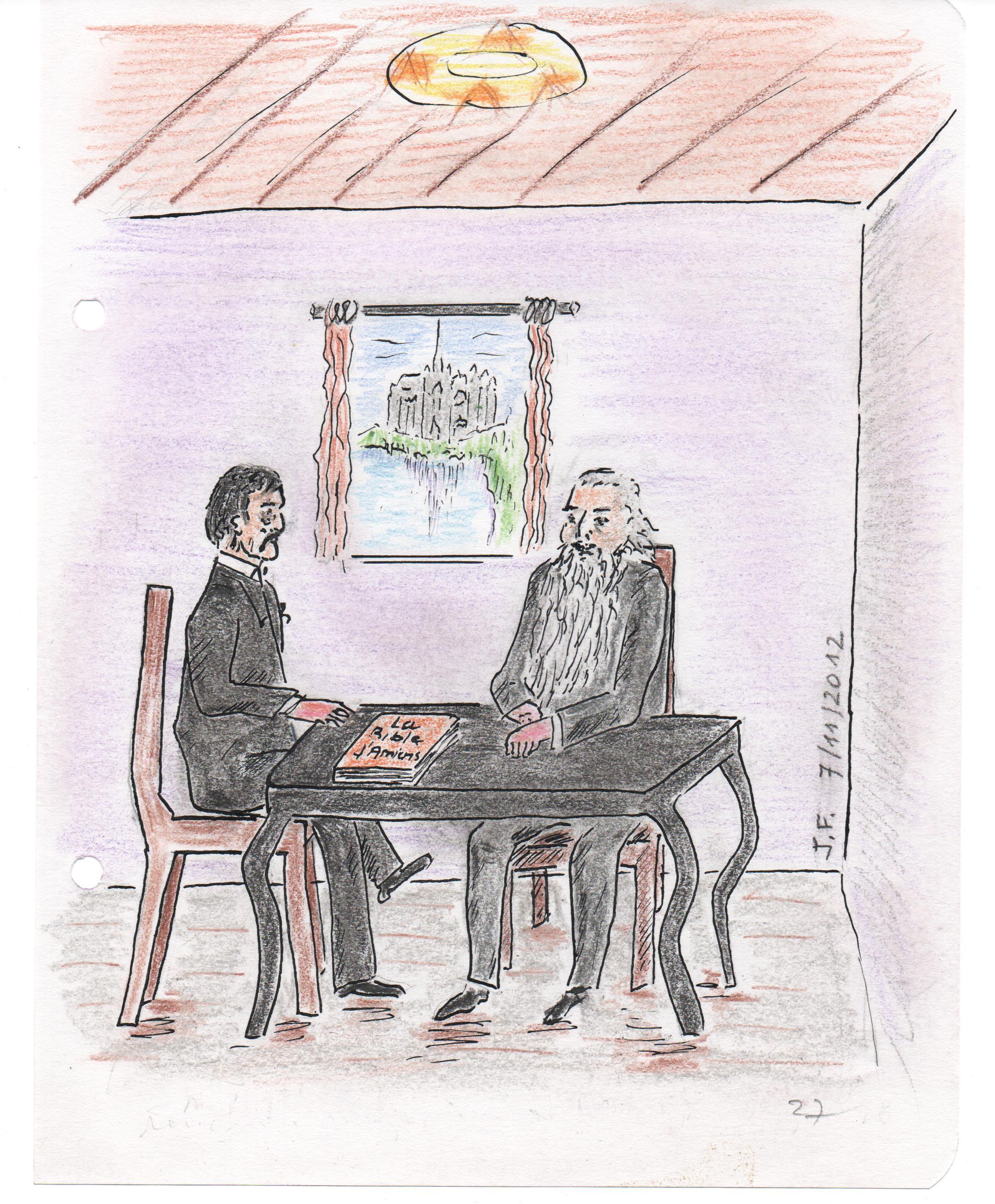 27-Rencontre imaginaire entre Marcel Proust et John Ruskin....A travers la fenêtre ,la cathédrale d'Amiens.....jpg