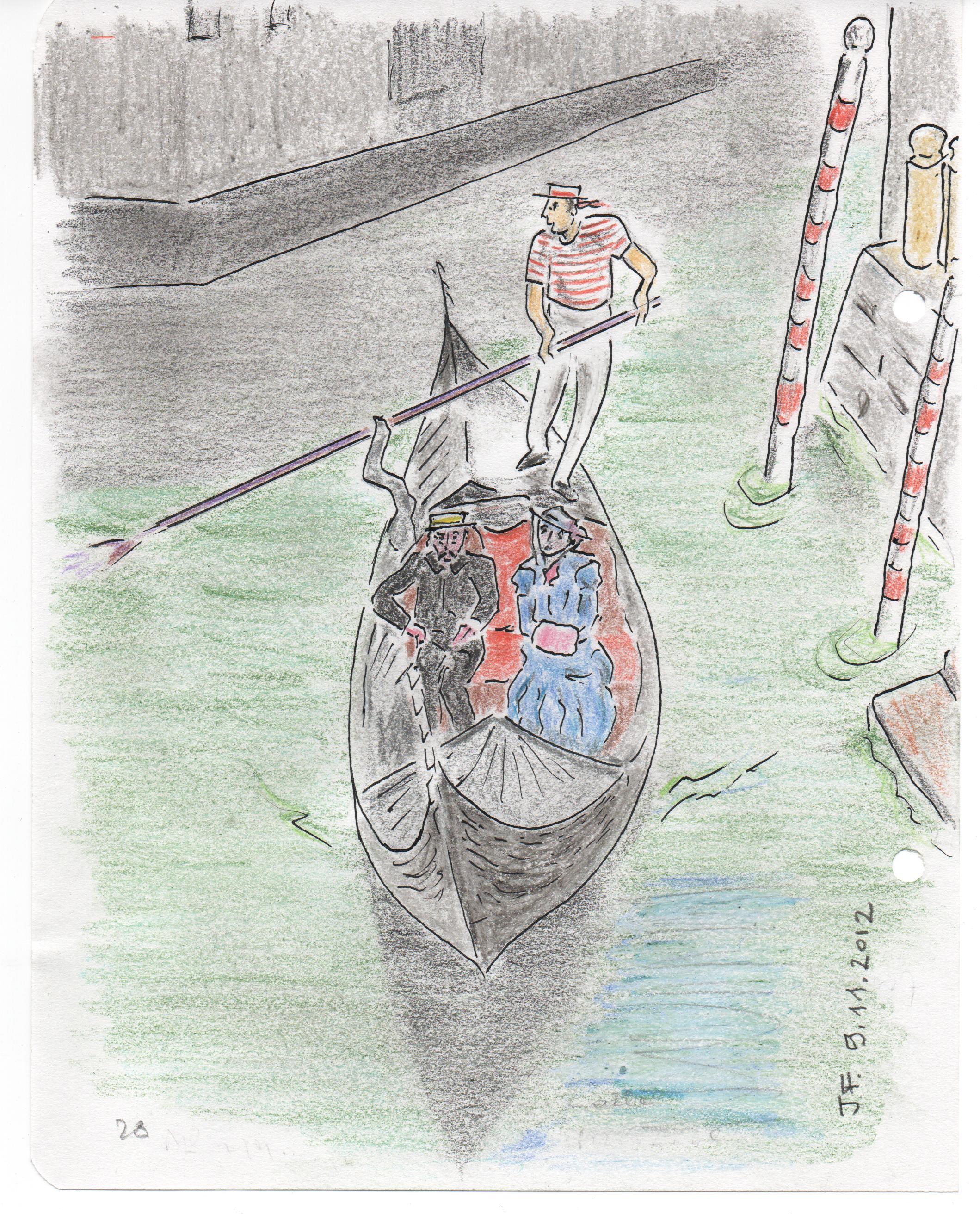 28-Marcel Proust     et Marie Nordlingen en gondole sur un des petits canaux de Venise.jpg