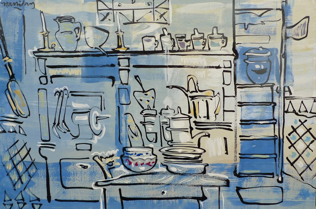 La Maison de Tante Léonie, Françoise's Kitchen, oil on canvas by Alan Halliday, 60cm x 80cm..JPG