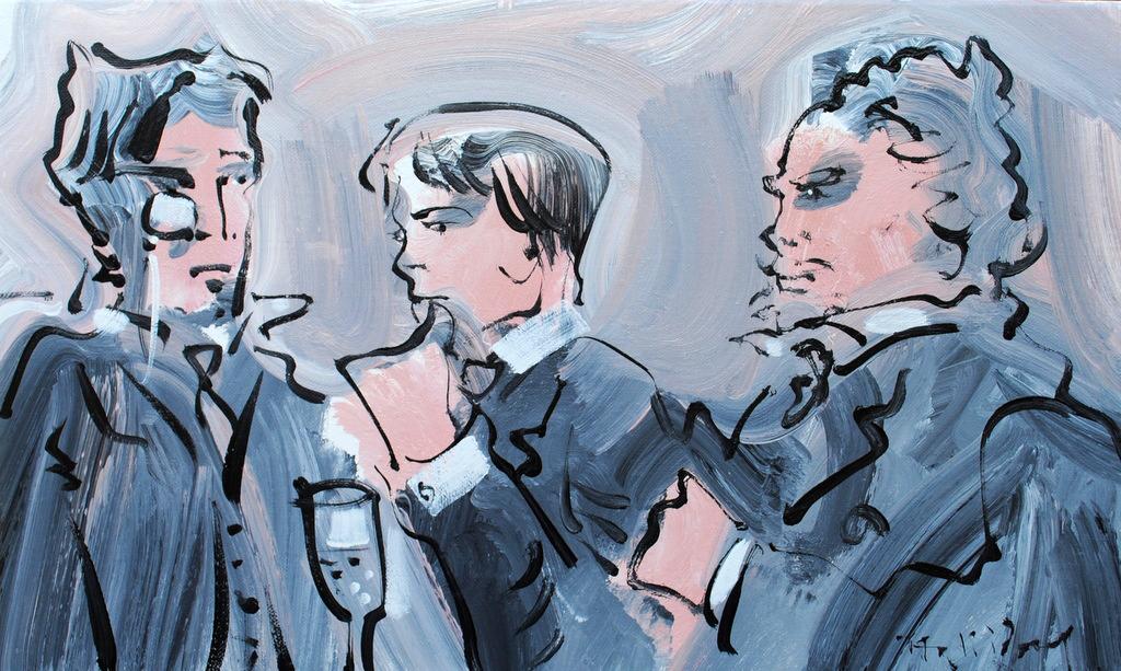 Robert, Marcel et Mémé, oil on canvas by Alan Halliday, 33cm x 55cm.JPG