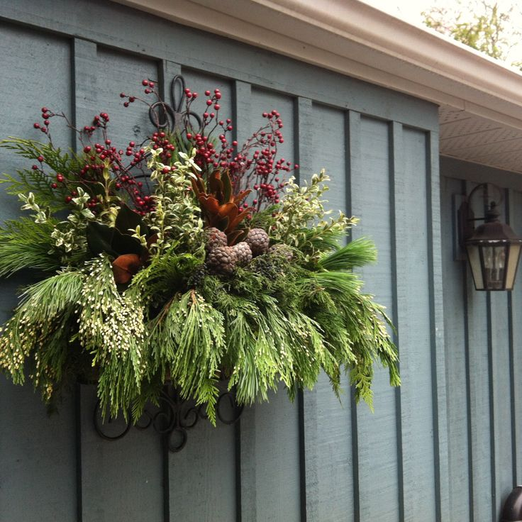 Christmas Arrangement- Metal Wall Planter, Natural Tones.jpg