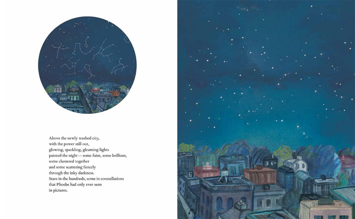 selected spreads from Bright Sky, Starry City, Groundwood Books