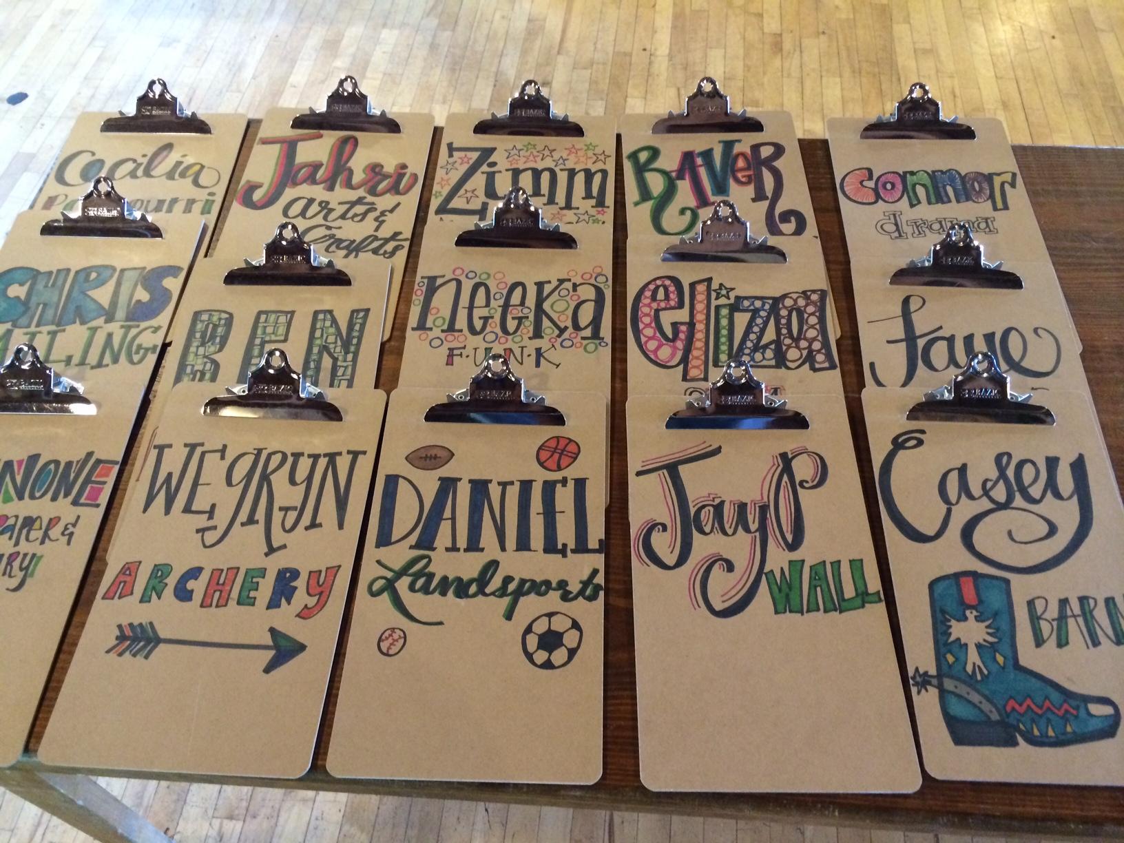 Clipboards I bought from S&S in the summer of 2014 and decorated with Sharpies for each of our activity area specialists that summer.