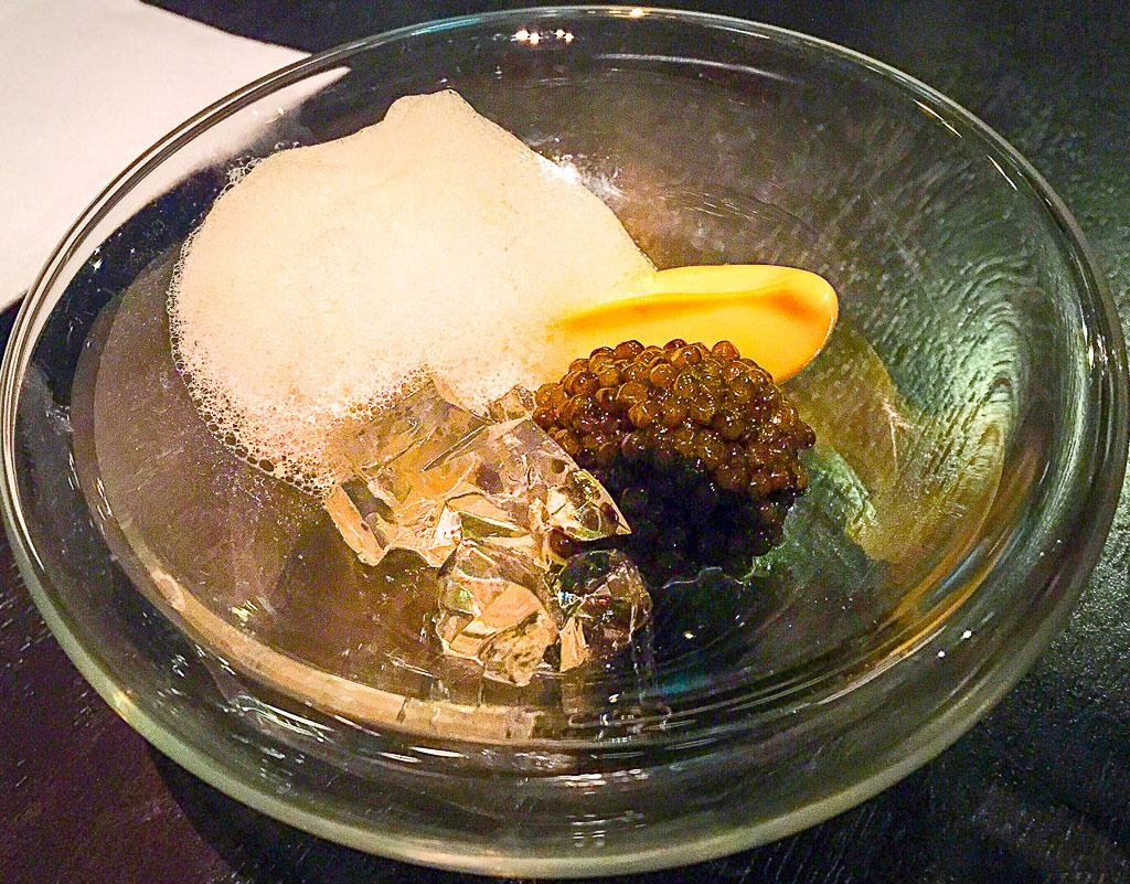 1st Course: Osetra Caviar + Foam, 10/10