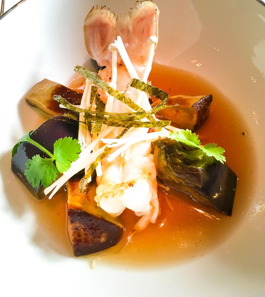 Course 3: Langoustine + Goose Liver + Eggplant, 8/10
