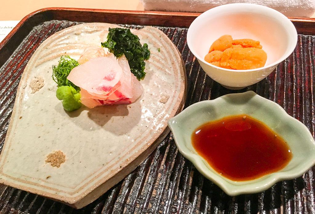Course 3A: Sea Bream + Sea Urchin Sashimi, 9/10