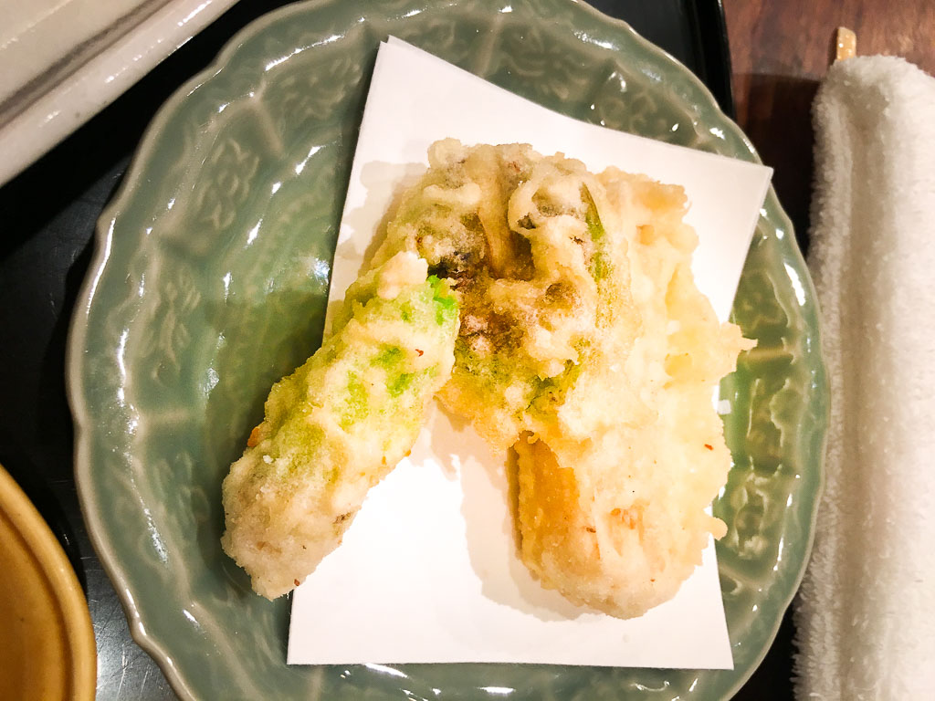 Course 2: Tempura Vegetables + Bamboo, 7/10