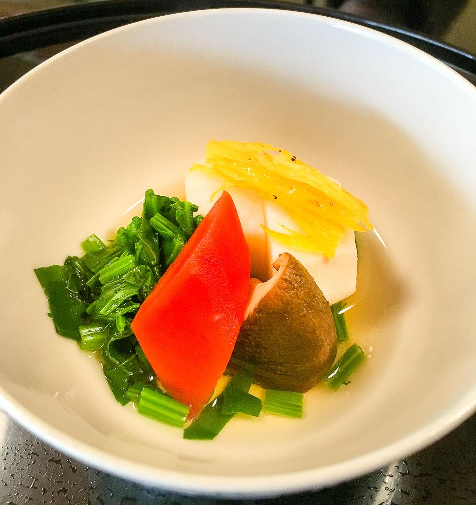 Course 6: Taro + Carrot + Mushroom + Spinach, 9/10