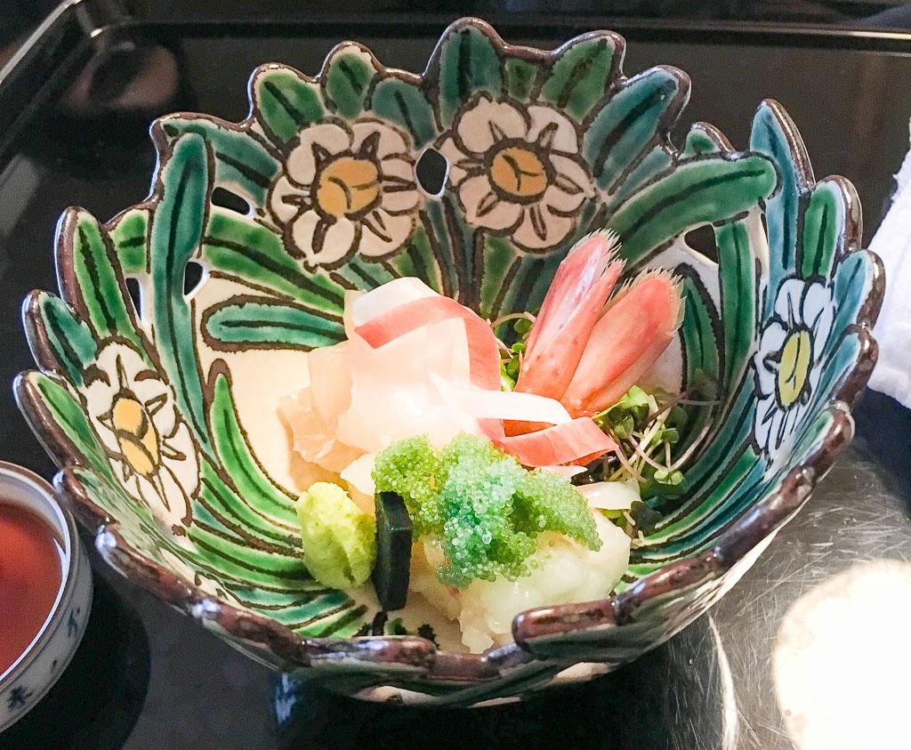 Course 2: Sashimi of Sea Bream + Prawn + Udo + Vegetables + Wasabi, 9/10