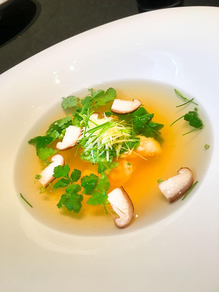 Course 2: Shrimp + Mushroom + Lemongrass Soup, 9/10