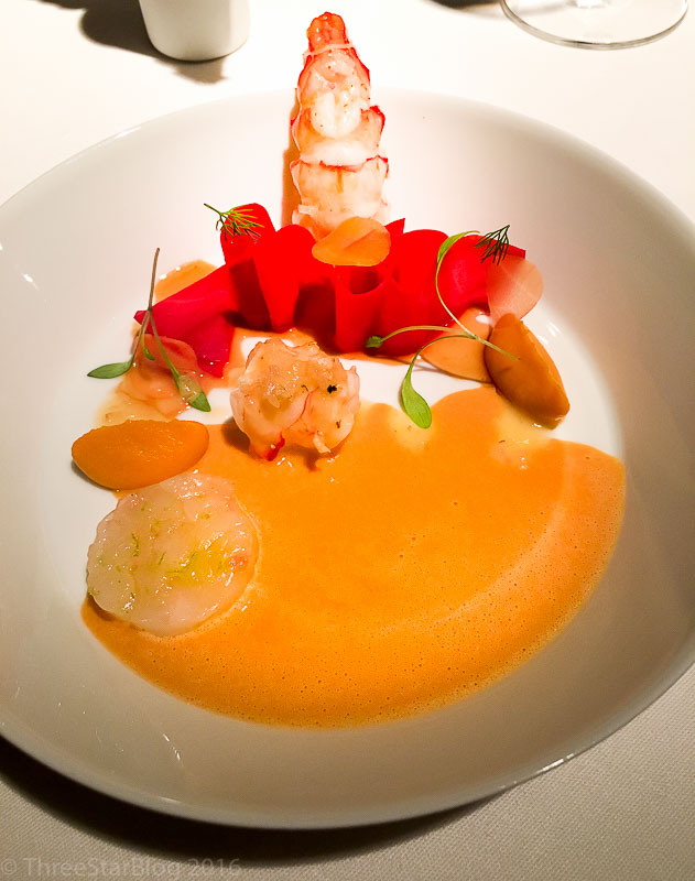 "Course 6: Langoustine + ""Variation of Carrot,"" 8/10"