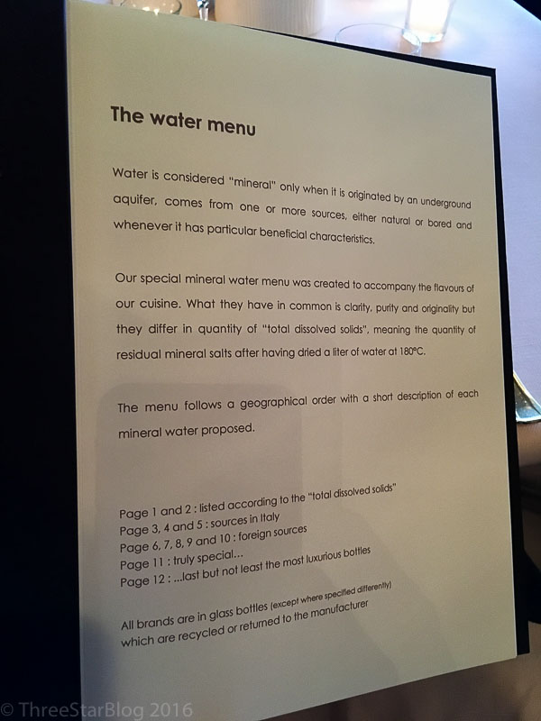 The Water Menu. Not Kidding.