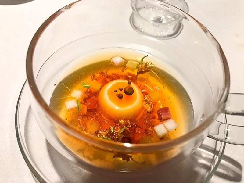 Course 9A: Veal Soup + Ham Cubes
