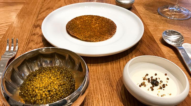 Course 1: Lentils + Eel Jelly + Caviar, 5/10