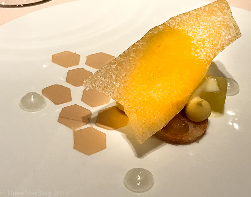 """Course 6: """"Honey from the Beehive;"""" Golden Apple + White Chocolate + Molasses, 8/10"""