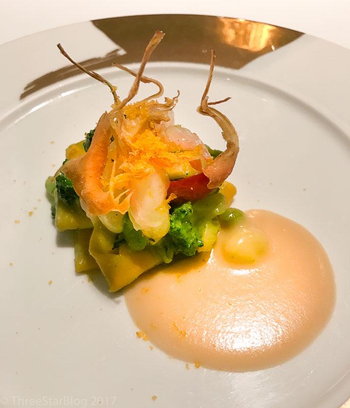 "Course 4: ""More Pasta than Beans"" Ravioli + Shrimp + Bottarga di Muggine, 9/10"