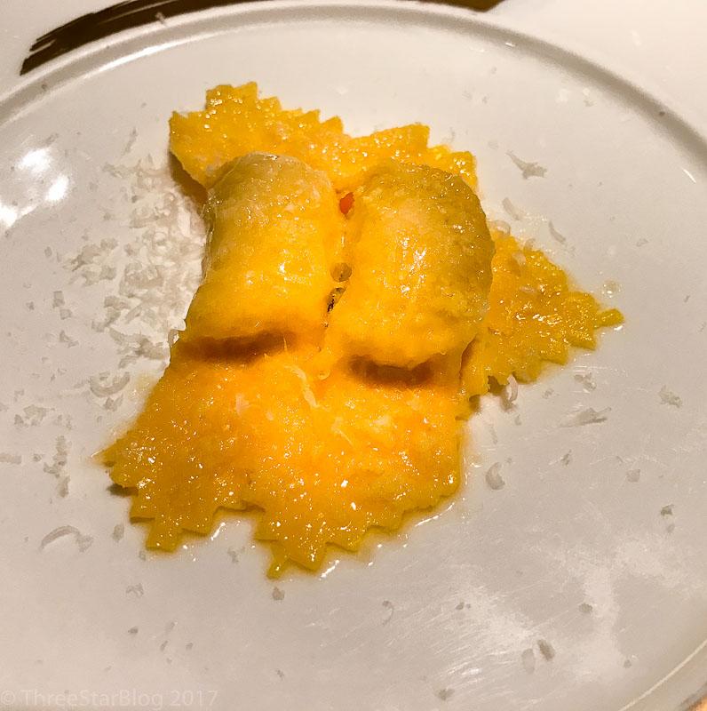 Course 6: Pumpkin Ravioli + Parmigiano Reggiano, 9/10
