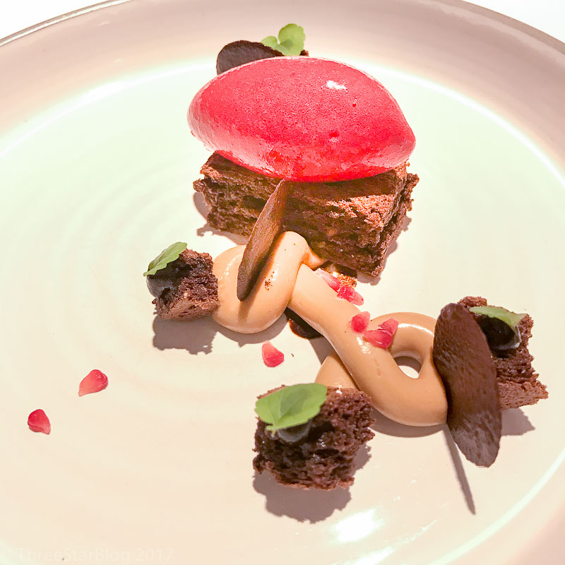 Course 7: Cocoa + Black Garlic + Raspberry + Moscovado Sugar, 9/10
