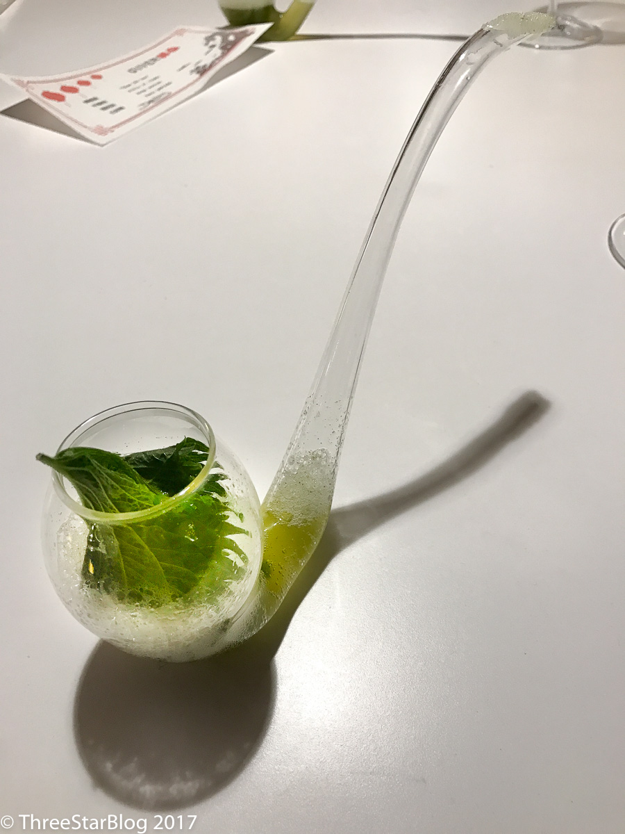 Course 13: Shiso leaf liquid salad