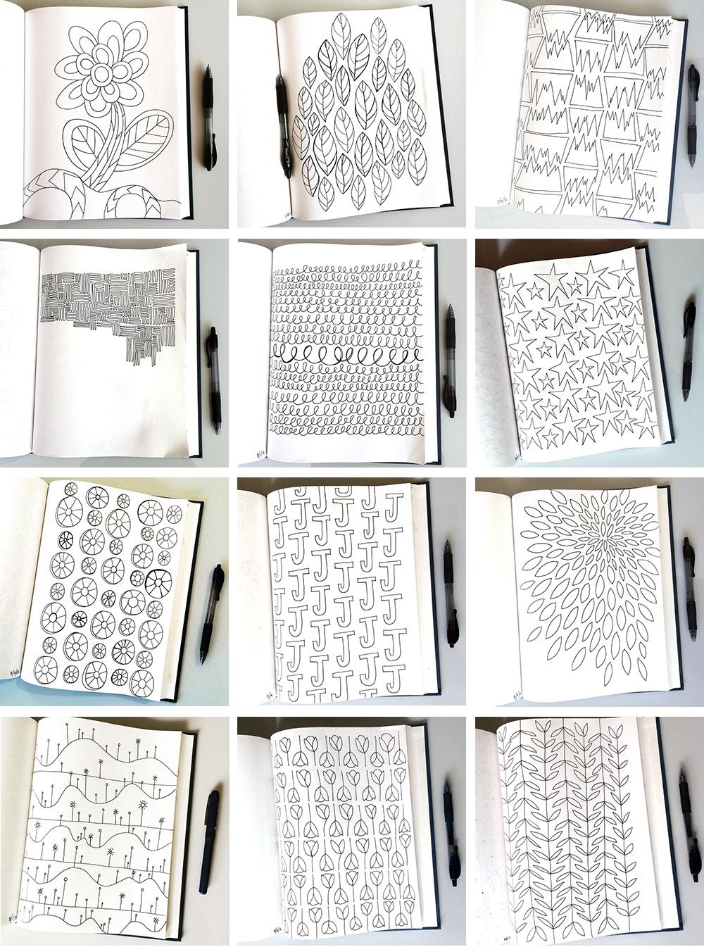 Sketchbook Pattern Drawings - Day 7-18