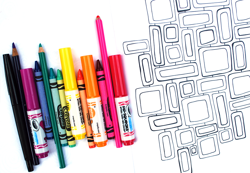 "For best results, use colored pencils, water-based markers or crayons to color in ""Pattern Play."""
