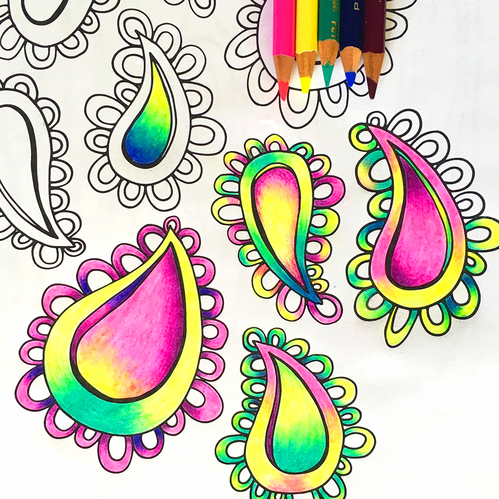 A page from my coloring book, Pattern Play, colored with Prismacolor pencils.
