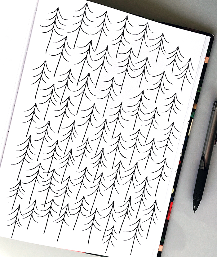 A fir tree pattern drawn in my sketchbook was the basis for this card design.