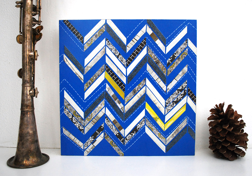 """Chevron in Blue"" - mixed media collage.  Now on sale! Click through to purchase."