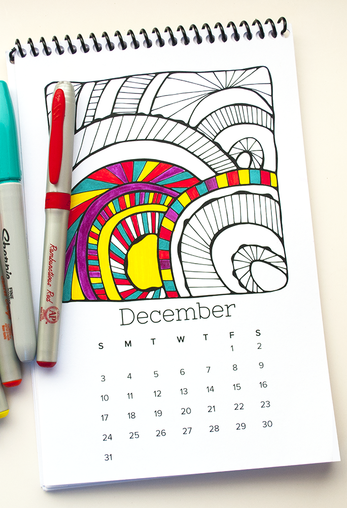 Printed on a nice thick cardstock, you can color with sharpies or any other marker on this 2017 coloring calendar.