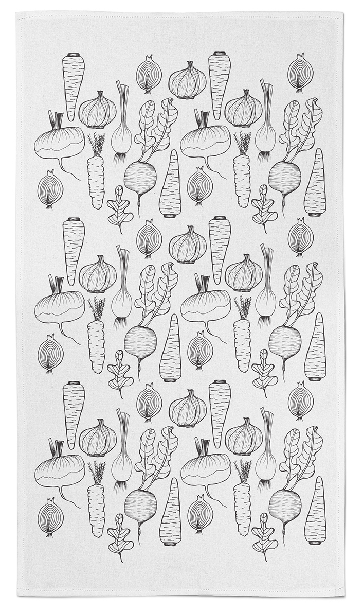 My Day 17 drawings turned into a pattern for a tea towel.