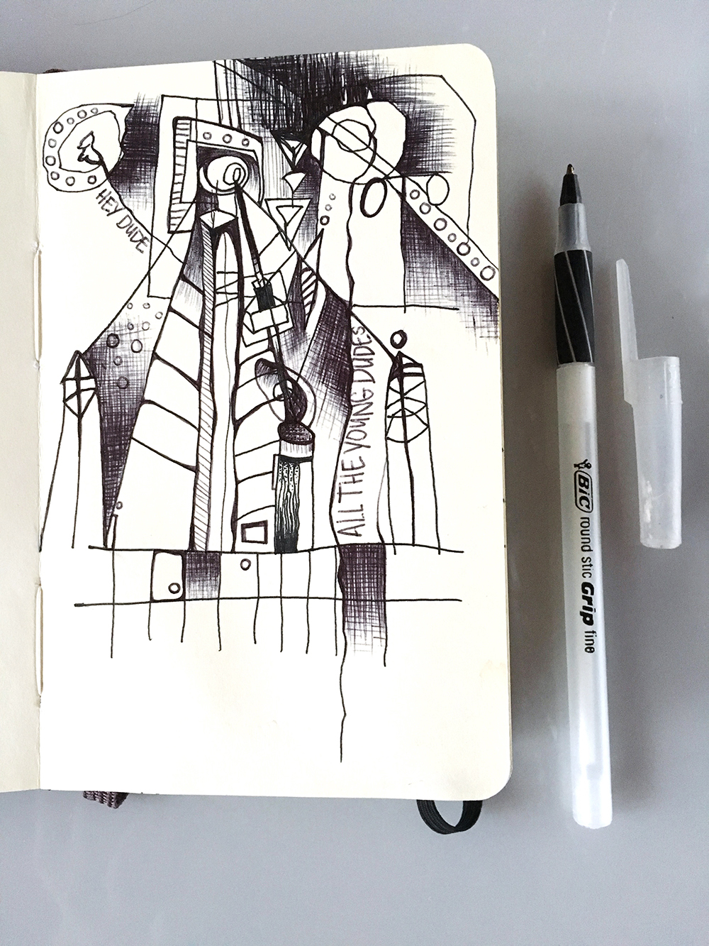 A Moleksine drawing from 2008. I must have been listening to Bowie at the time.