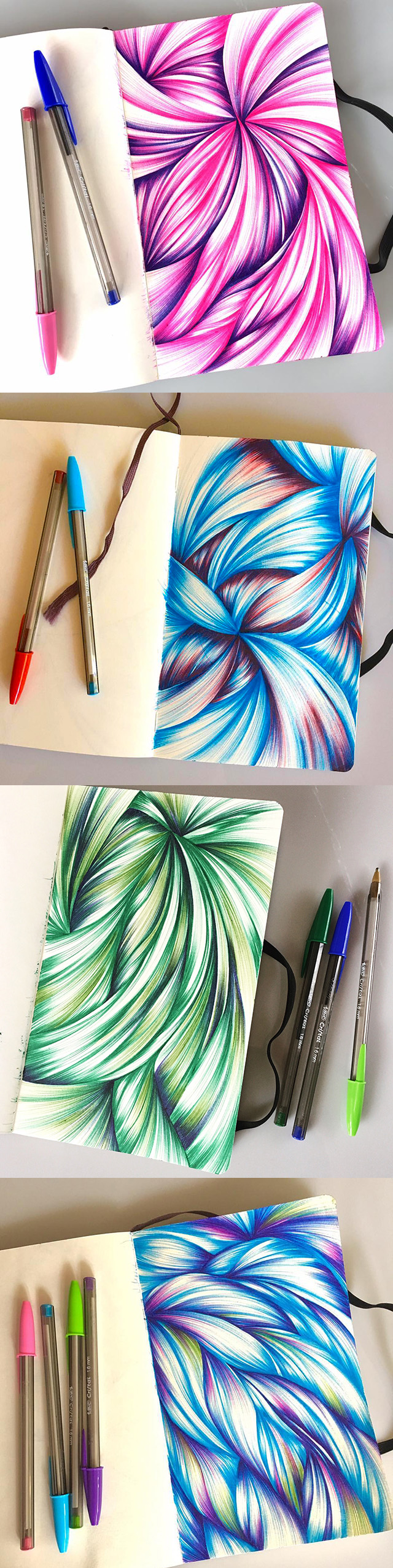 Multi-color ballpoint sketchbook drawings from 2016