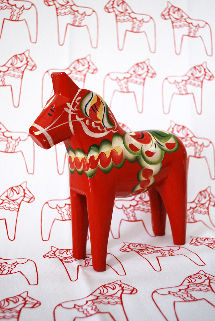 This is that dala horse that sits our living room. Matt and I got it as a wedding present (I think?)
