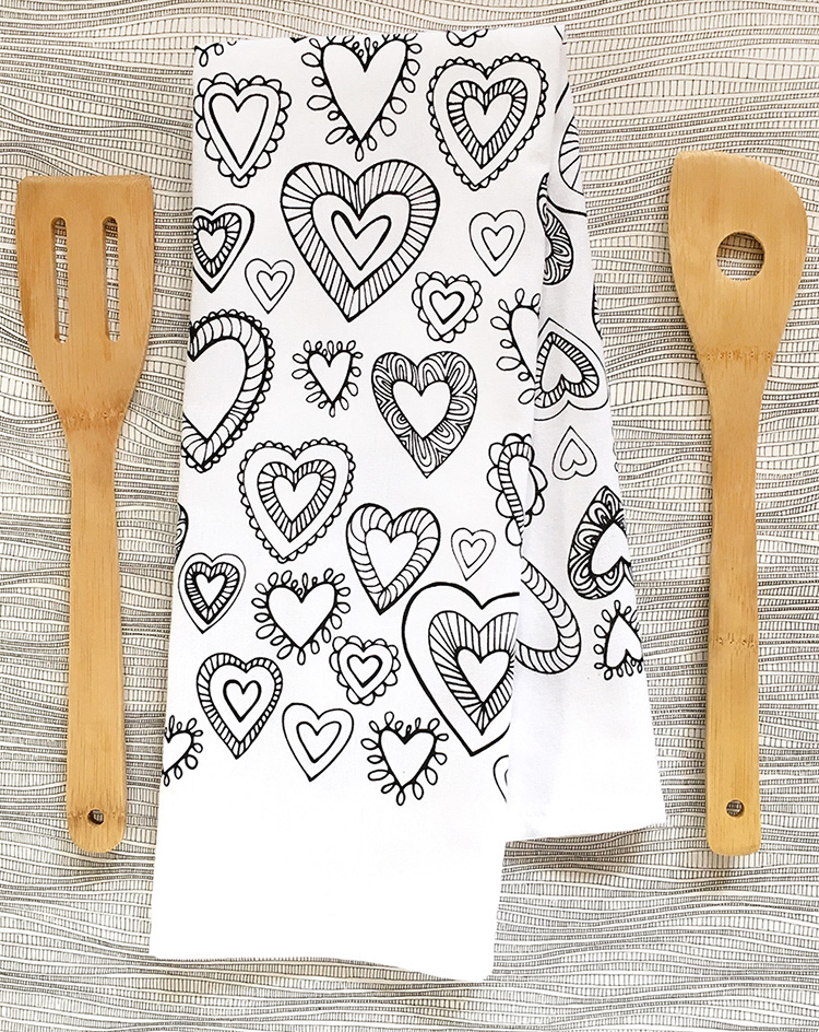 "My new hand printed ""hearted"" tea towel is now for sale. Click through to purchase."