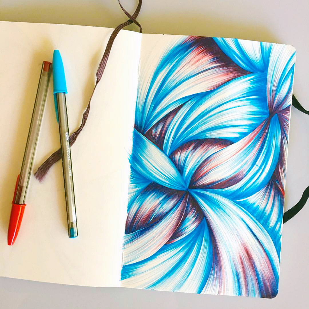 This ballpoint sketchbook drawing became the backdrop for a greeting card.
