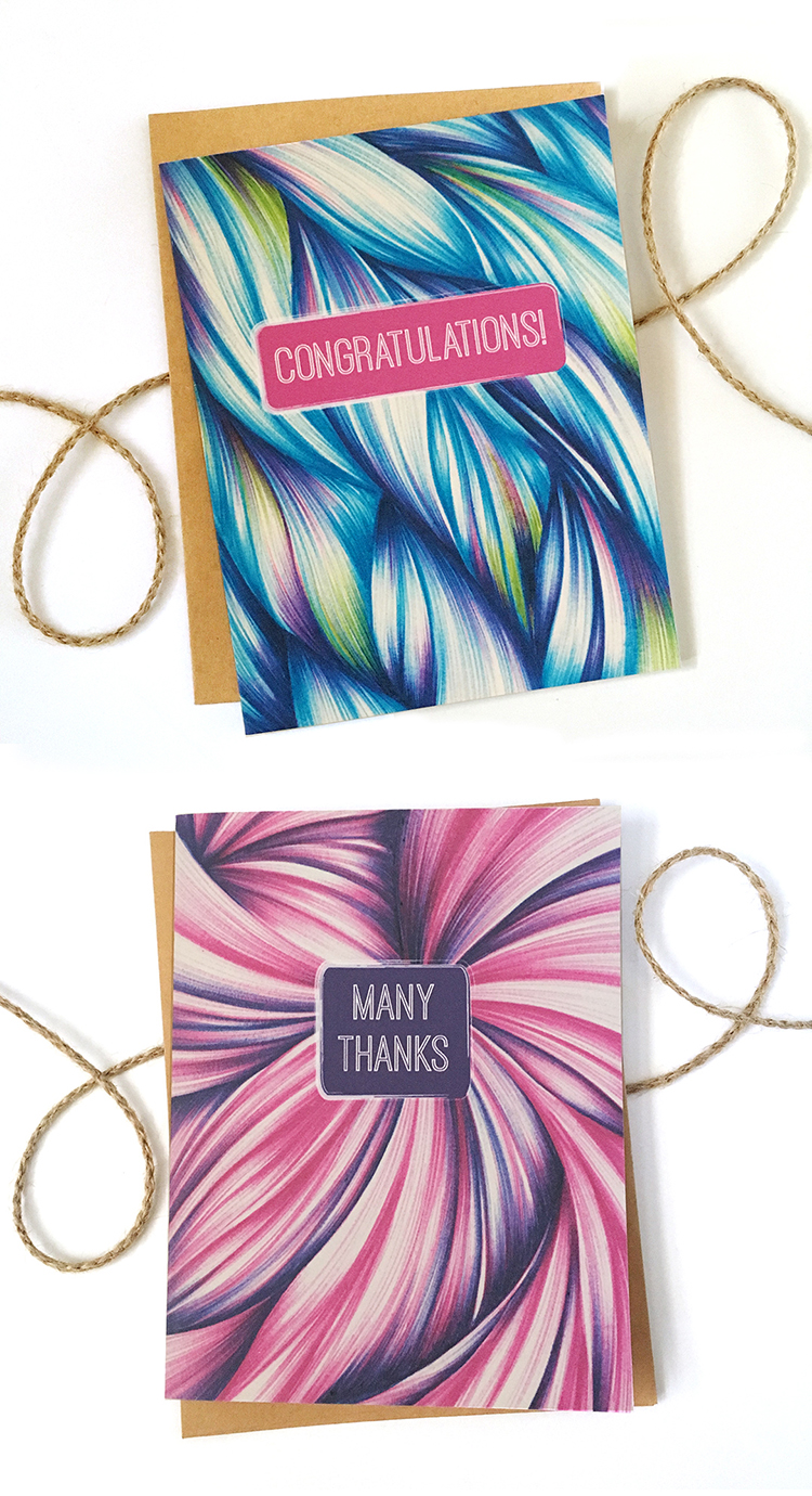 This modern, abstract Congratulations and Thank You are a stylish addition to your stationery stash.