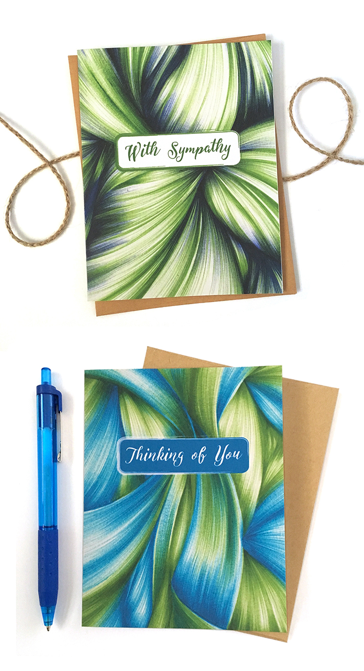Send your sympathy or well wishes with elegance and grace. The abstract ballpoint pen drawings are sure to bring a little comfort to someone going through a rough time.