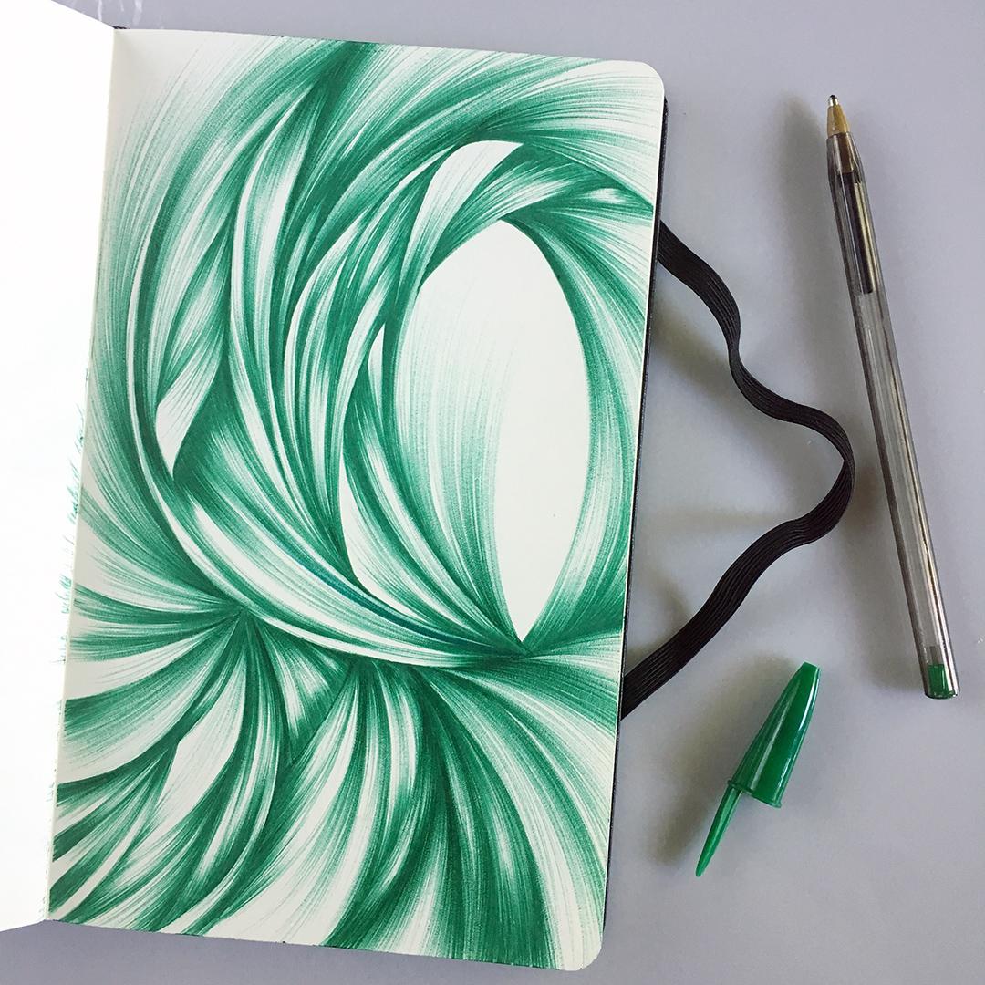 A ballpoint sketch in an elegant emerald green.