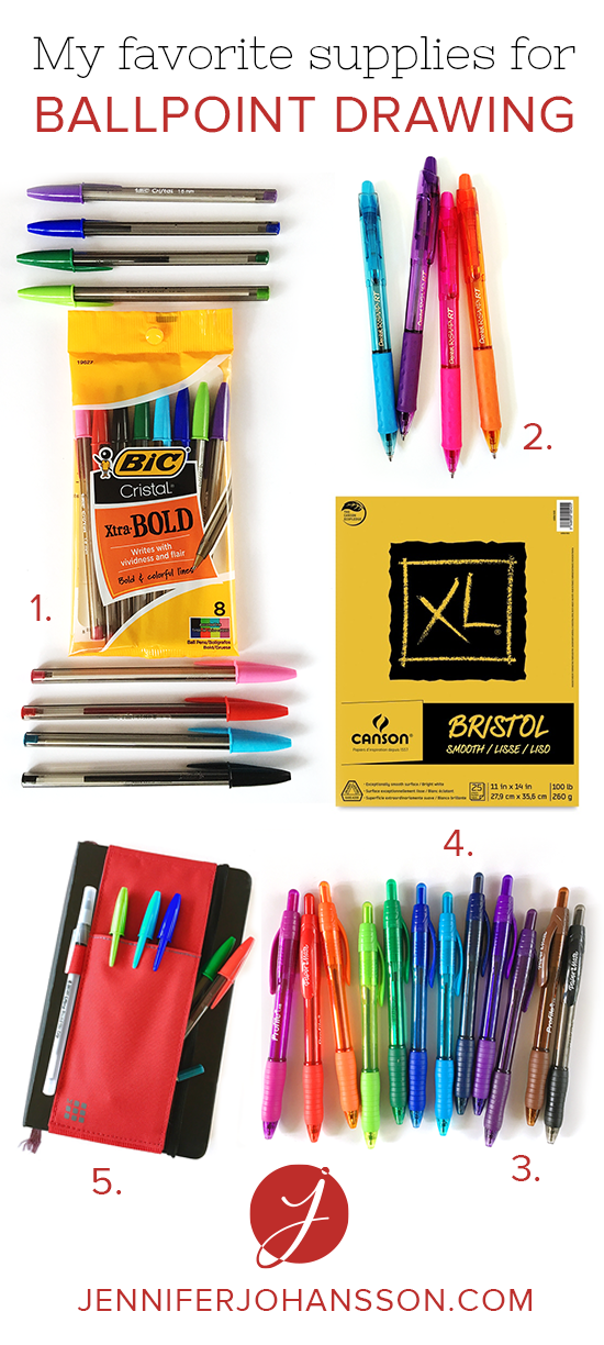 These are my go-to supplies for ballpoint drawing. Click through for the details and more of my faves.