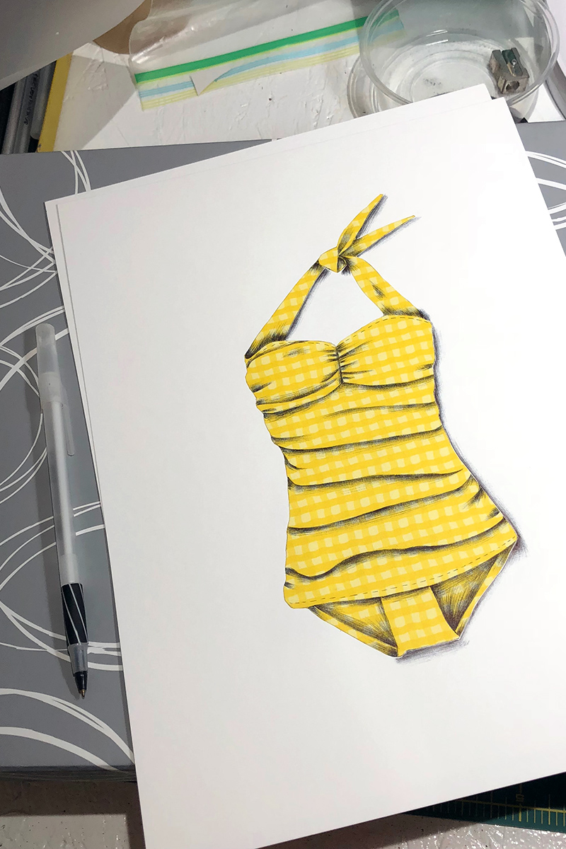 A classic 1950's bathing suit illustrated with patterned paper and black Bic ballpoint ink.