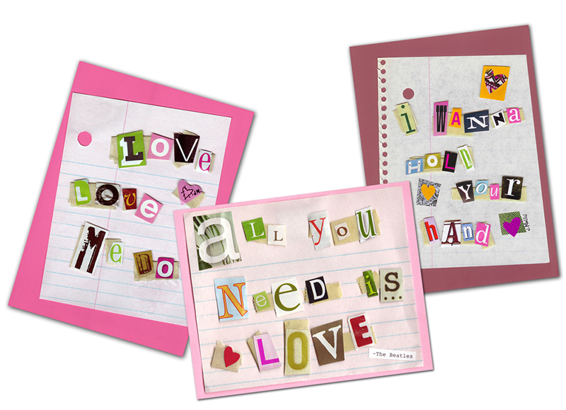 """My out of print """"Just a Little Love Song"""" Beatles themed valentine collection."""
