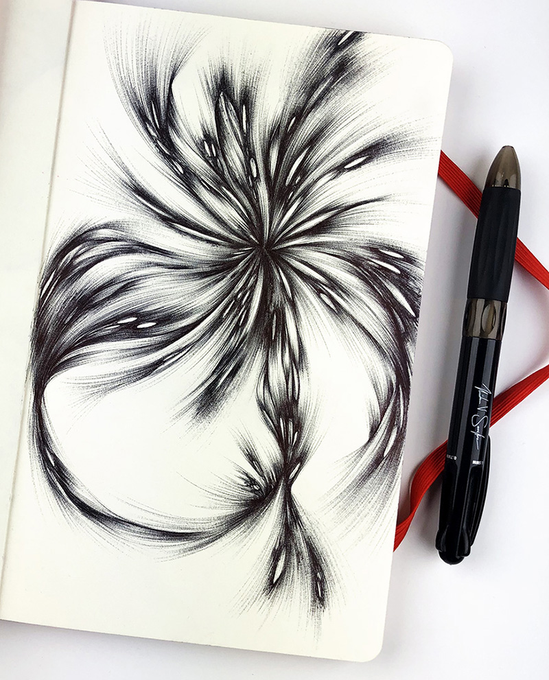 My drawing with the 1MM point of the NS1 Pen in my trusty Moleskine sketchbook.
