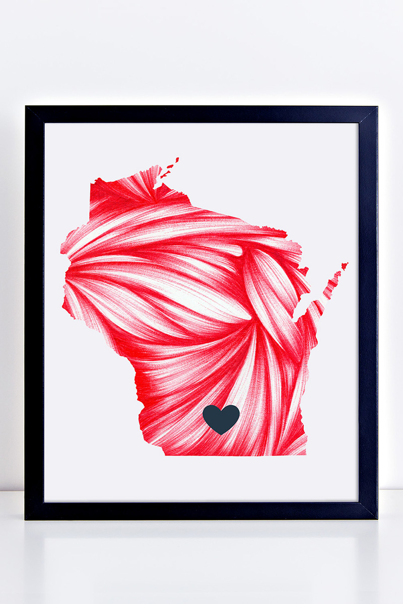 My Wisconsin state print had to be Badger red.