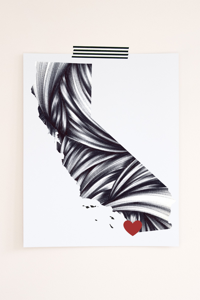 This California print marks San Diego with a heart.