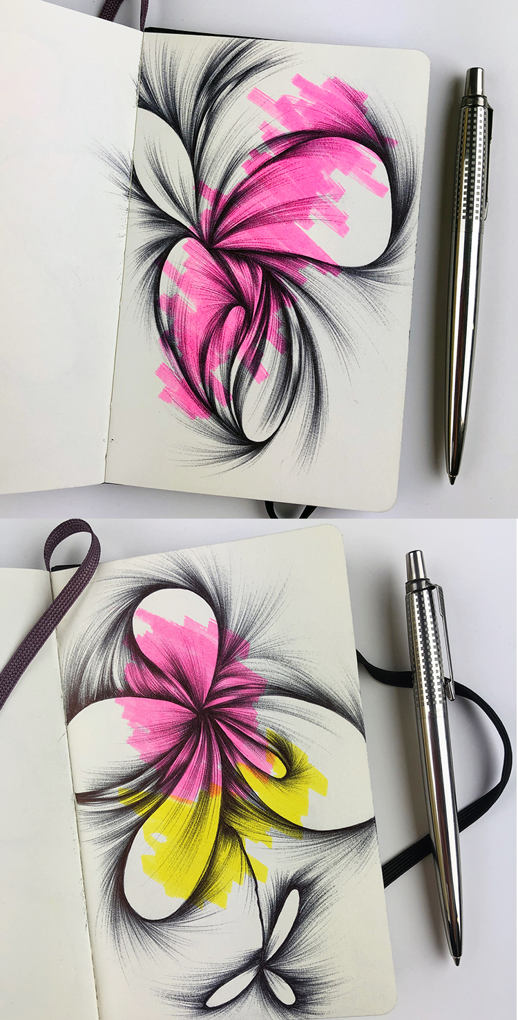 Sketchbook drawings made with a Parker Jotter ballpoint pen.