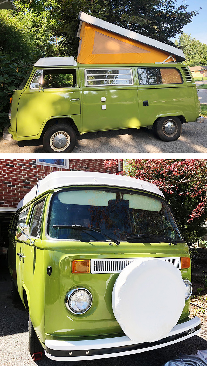 Meet Yoshi, our 1977 Volkswagen Westfalia Bus.