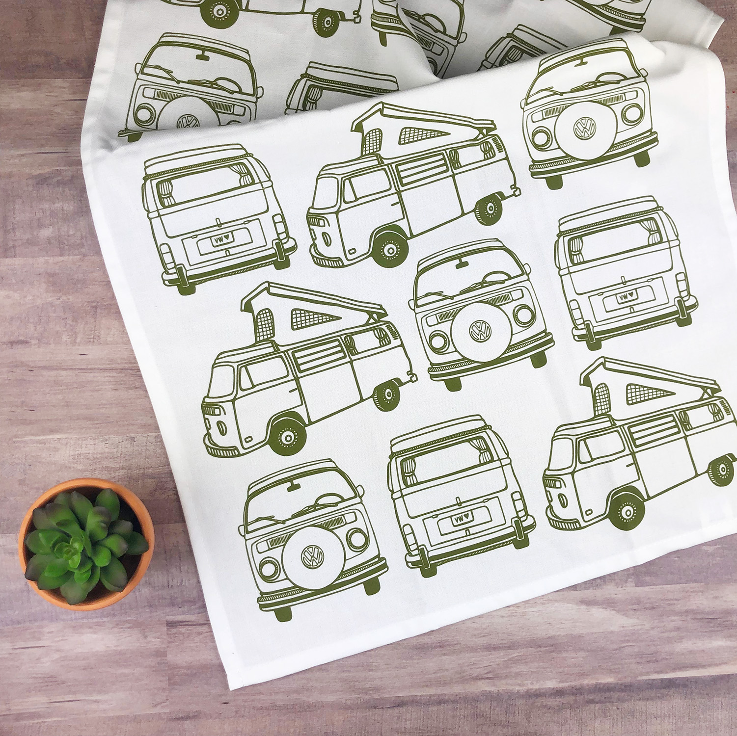 The VW Bus screen printed tea towel is sure to bring some personality and charm to your kitchen.