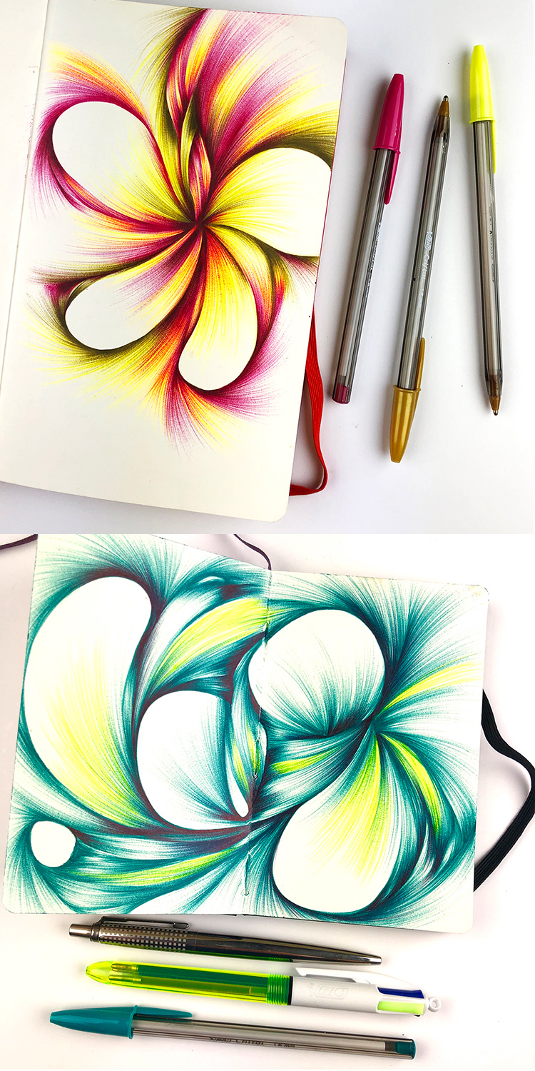 Drawings made with Bic Cristal ballpoints purchased from the UK. Click for purchase information.